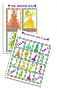 princess bingo 192x300 Homemade Princess Party Invitations, Party Game and Party Favors
