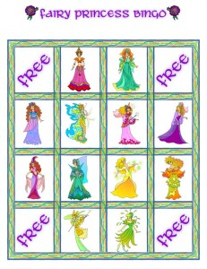 Fairy Princess Bingo Card 1