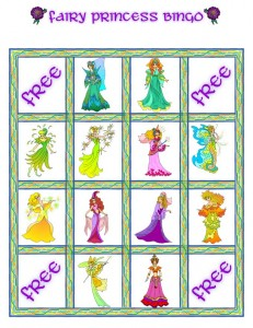 Fairy Princess Bingo Card 2