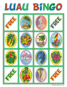 luau bingo card 10 231x300 Luau Party Ideas and Free Luau Bingo Game