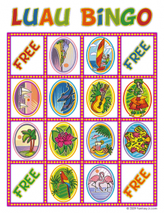 luau bingo card 2 231x300 Luau Party Ideas and Free Luau Bingo Game