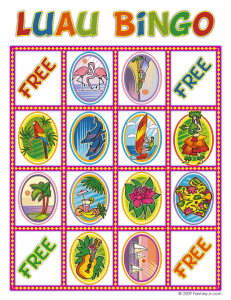 luau bingo card 4 231x300 Luau Party Ideas and Free Luau Bingo Game