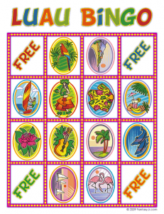 luau bingo card 5 231x300 Luau Party Ideas and Free Luau Bingo Game