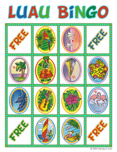 luau bingo card 6 231x300 Luau Party Ideas and Free Luau Bingo Game