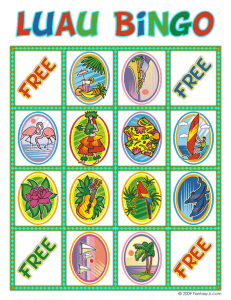 luau bingo card 8 231x300 Luau Party Ideas and Free Luau Bingo Game