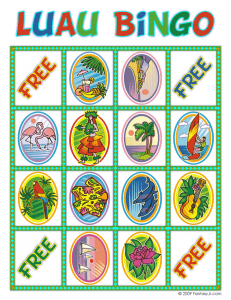luau bingo card 9 231x300 Luau Party Ideas and Free Luau Bingo Game