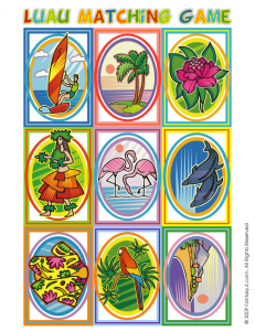 luau matching game 231x300 Luau Party Ideas and Free Luau Bingo Game