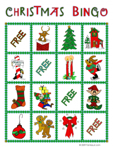 christmas bingo card 1 231x300 Printable Christmas Bingo Game