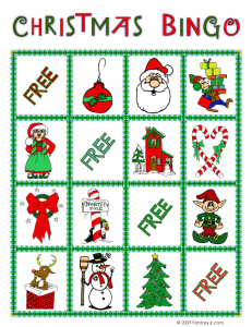 christmas bingo card 2 231x300 Printable Christmas Bingo Game