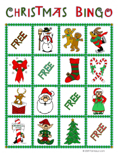 christmas bingo card 3 231x300 Printable Christmas Bingo Game