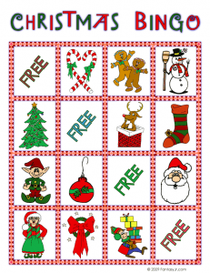 christmas bingo card 6 231x300 Printable Christmas Bingo Game