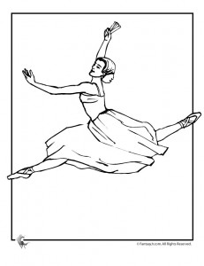 ballet leap coloring page 231x300 Ballet Coloring Pages