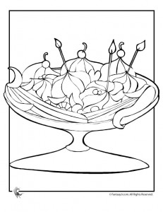 banana split coloring page 231x300 Ice Cream Coloring Pages