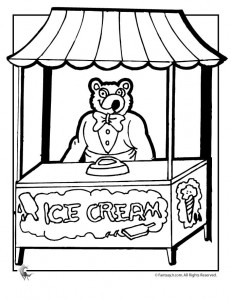 Ice Cream Shop Coloring Page