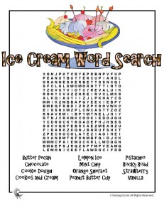 ice cream word search 231x300 Ice Cream Party Games