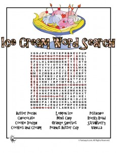 ice cream word search k 231x300 Ice Cream Party Games