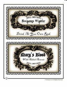 halloween labels 231x300 Printable Halloween Labels for Bottles and Potions
