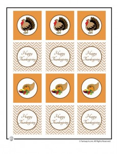 thanksgiving cupcake toppers 231x300 Happy Thanksgiving Printable Paper Decorations