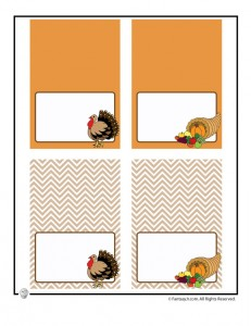 thanksgiving placecards tents 231x300 Happy Thanksgiving Printable Paper Decorations